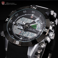 Sport banding lcd - Mens SHARK Watch LCD Digital Analog Dual Time Quartz Sport Rubber Band Wrist Watch SH042