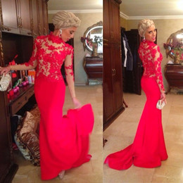 Wholesale New Elegant Vintage Lace Mermaid Evening Dresses With Long Sleeves High Neck Red Appliques Sheer Formal Prom Gowns Fashionable W4128