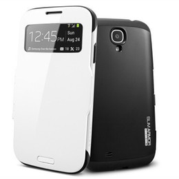 Wholesale Slim Armor Case Ultra Flip View Window Cover for Samsung Galaxy S4 SIV i9500 Infinity W Protector Shockproof Dirt proof White Black