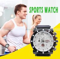 Wholesale Silicone watch Triple Time Zones Watch Quartz Wristwatches men watch
