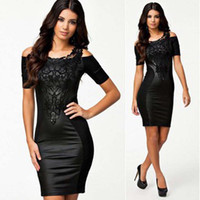 Cheap New 2014 European American Women Summer Dress Sexy Black Bodycon Dress Patchwork Casual Clothing with Embroidery Vestidos ND227#