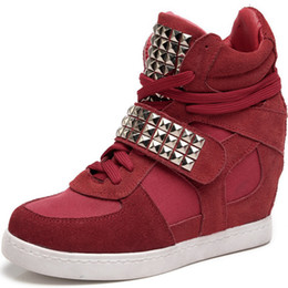 Wholesale OP ASH Styles Leather Wedge Sneakers Rivet Weman Shoes Size EU35 Two styles Height Increasing cm Drop Shipping