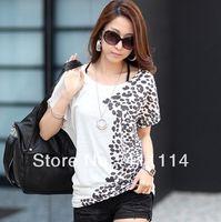 batting tees - 2014 new fashion plus size t shirt women clothing summer sexy tops tee clothes blouses t shirts Loose printing bats shirt