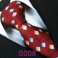 Cheap BRAND NEW COACHELLA Men ties 100% Pure Silk Tie Burgundy Red Grids With Gold Blue Necktie Formal Neck Tie for Casual Men dress shirt Wedding