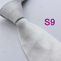 Cheap BRAND NEW COACHELLA Men ties 100% Pure Silk Tie White Solid Grids Checkered Casual Woven Necktie Formal Neck Tie for Men dress shirt Wedding