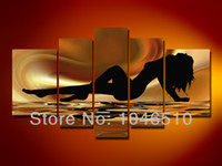 Cheap High Quality Nude Woman Oil Painting Large Living Room Lady Modern Canvas Wall Art 5 Panel Abstract Picture Set Home Decoration