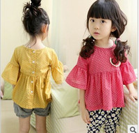 Cheap New Korean 2014 Children Girl's Princess Flare Sleeve Dots Printed T Shirts Cute Lace Pocket Back Button Tee Shirt Green Yellow F0415