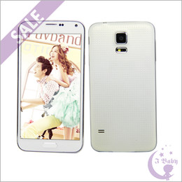 Wholesale Real Fingerprint S5 SM G900 Quad Core MTK6582 GHz GB GB Android KitKat Heart Rate Detection G WCDMA MP Camera Smart Phone