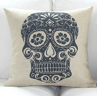 Cheap New fashion Personality Vintage Skull Soft Home Throw Pillow Cushion Pillow Case Decor Cushion Cover 18*18 Square bedding Free Shipped 01