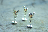 antique glass wine goblets - 15pcs Goblet Charms Antique silver D Wine Glass Charm pendants x11mm
