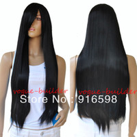 Cheap High-Heat Resistent Long Black Straight Cosplay Party Hair Wig