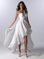 white high low dresses - Summer Beach High Low Wedding Dresses Sexy One Shoulder Backless Sash Pleats Ruched Chiffon White Simple Elegant Bridal Gowns Cheap