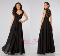 Cheap Black Cap Sleeve Bridesmaid Dresses 2014 with Sexy V Neck Lace Back Cheap Long Chiffon Sheath Pleated Prom Party Gowns Evening Dress