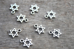 Wholesale 100pcs Little Star of David charms antique silver pointed star hexagram x16mm