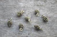 antique pine - 50pcs Pine Cone Charms Antique bronze D mini Pine cone charm pendant x6mm