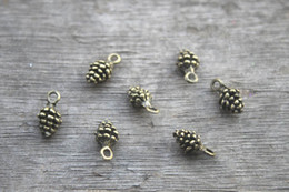Wholesale 50pcs Pine Cone Charms Antique bronze D mini Pine cone charm pendant x6mm
