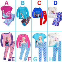 Cheap Wholesale-Retail New 2014 frozen baby girls clothing sets children kids boys summer pajamas child Anna Elsa princess clothes for 2-7T
