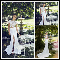 apple beach - 2015 Riki Dalal Summer Chiffon Beach Wedding Dresses Mermaid High Neck Lace Bodice Two Piece White Front Slit Backless Wedding Bridal Gowns