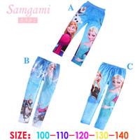 Nouvelle filles vêtements Avis-2015 nouveaux 3 designs bas prix Frozen Elsa Anna filles princesse enfants pantalons leggings pantalons longs vêtements de bande dessinée