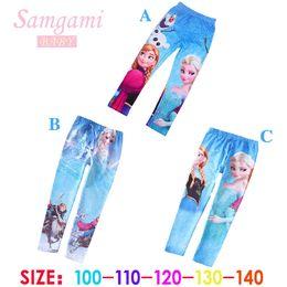 Wholesale 2014 newest designs low price Frozen Elsa Anna princess girls children leggings long pants trousers cartoon clothing