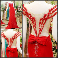 Cheap SSJ 100% Real Image Gorgeous Exquisite Handmade Beads V-neck Chinese Red Evening Dresses 2014 Autumn Tarik Ediz Couture Pageant Gowns LV53