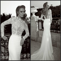 Cheap Long Sleeve Prom Dresses 2015 Illusion Neckline Open Back Lace Chiffon Beaded Pearls Court Train Mermaid Fishtail Backless Wedding Dresses