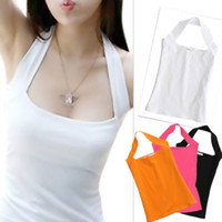 halter tops - Sexy Women s Lady Low Cut Halter Neck Vest Shirt Tank Backless Boob Tube Top DH04