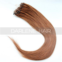 Wholesale Loop Micro Ring Hair Extensions Chestnut Brown Color Straight Brazilian Remy Hair Smooth Touch Quality Hair ST137