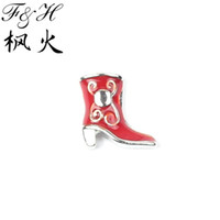 Cheap New Arrival Red Boots Floating Charms For Memory Glass Lockets Custom Jewelry Wholesale Charms