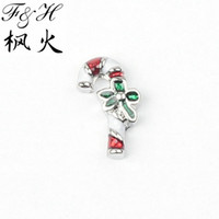 Wholesale Christmas Stick With Bowknot Floating Charms For Memory Glass Lockets Charm Lockets Floating Charms