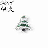 Wholesale New Christmas Tree Floating Charms For Memory Glass Lockets Enamel Charms