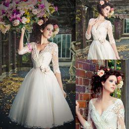 High Quality 2017 Vintage Short Wedding Dresses V-Neck 3 4 Sleeve Flower Sash Lace Tulle Tea Length A-Line Bridal Gowns Custom Made