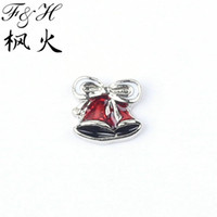 Wholesale Wine Red Bowknot bell Floating Charms For Memory Glass Lockets Christmas Charms