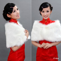 Wholesale 2014 New White Pearl Bridal Wrap Shawl Coat Jackets Boleros Shrugs Regular Faux Fur Stole Capes Cheap