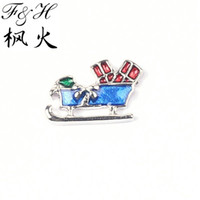 Wholesale New Design Christmas Sleigh Floating Charms For Memory Glass Lockets China Charms