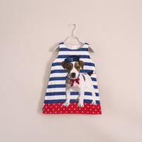 Wholesale baby girl kids stripe dress striped dress puppy dog dress vest dress cotton jumper one piece jumpsuits cute princess pajamas PJ S