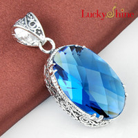 Wholesale Luckyshine piece Christmas sterling silver restore ancient ways Oval or water drop Swiss Blue Topaz crystal pendant for lady