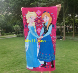 Wholesale 60 cm Frozen Bath Towel Soft Frozen Elsa Anna Olaf Cotton Cutton Towels Bathroom Children Beach Towel Kids Bath Towel Girls Bikini Covers