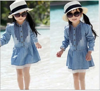 jean skirts - Hot Sale Children Clothing Kids Girl Long Sleeve Dress Kids Buttoned Denim Jean Skirt Lace Dress Suits for Children M1160