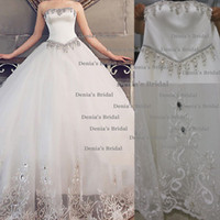 Cheap 2014 Real Wedding Dresses Ball Gown Crystal Appliques Sweetheart Neckline Floor-Length Bridal Dresses dhyz 01