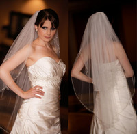beautiful inexpensive weddings - 2015 Best Selling Promotion Veils Beautiful Two Layers Ivory Bridal Veil Inexpensive Beaded Edge Wedding Veil New Bridal Accessory
