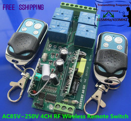AC85V 250V 110V 180V 220V 230V 240V 4CH RF Wireless Remote Control Relay Switch Security System 1Receiver 2Transmitter 315/433MHZ