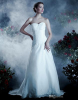 Wholesale 2014Anjolique Cheap White Tulle and Lace Corset Wedding Dresses A461 Sweetheart A Line Court Train Sleeveless Backless Ruffled Bridal G