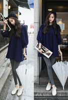 Cheap 2014 winter Women European style chiffon loose fashion casual wild dress lantern sleeve long sections plus size clothes