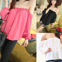 Wholesale 2014 New Fashion Sexy Summer Women Chiffon Blouse Long Sleeve Slash Strapless Off The Shoulder Tops Casual Blouse Ladies Blusa