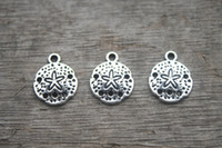 Wholesale 30pcs Sand Dollar Charms Antique Tibetan Silver Tone sand dollar charm pendants mm