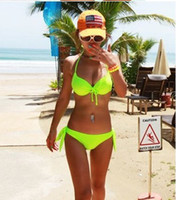 Wholesale 2014 Fashion Hot sale Sexy Neon solid Color Bikini set Split Steel Female bowknot bra Swimwear Push Up Swimsuit Hot Springs bathing suit