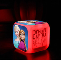 Cheap Frozen Alarm Clock LED Colorful Clock 7color Digital Alarm Clock Desk Digital LED Table Clock Thermometer Night Light Colorful Glowing Clock