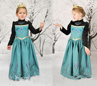 Wholesale Frozen Christmas Princess Dresses With Cape Babies Clothes Lace Costume Elsa Green Autumn Dress For Girls Factory Direct Free DHL