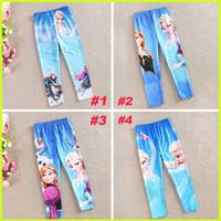 Cheap Frozen Leggings Baby Girl Leggings Elsa Anna Cartoon Leggings Kids 4 Color Leggings Children Tights Leggings NC-GD8